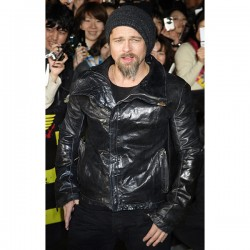 Brad Pitt Jets Black Leather Jacket