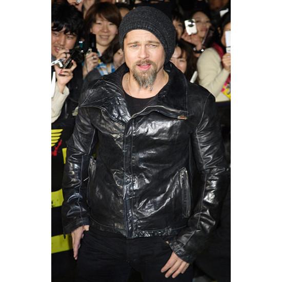 Brad Pitt Jets Black Leather Jacket