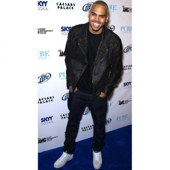 Chris Brown Black Studded Leather Jacket