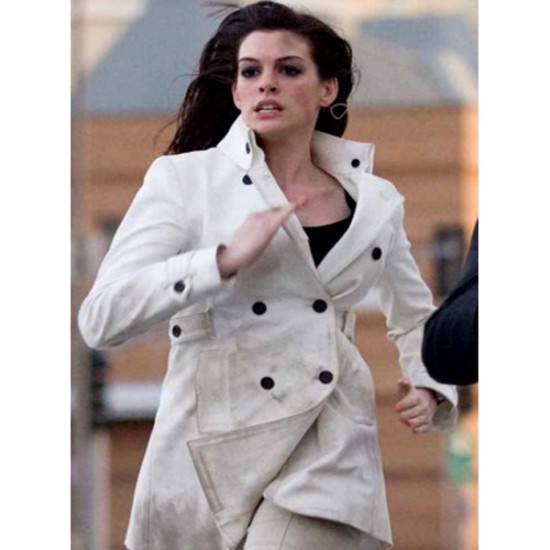 Anne Hathaway's White Double Breast Coat
