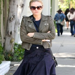 Anna Paquin Olive Green Leather Jacket