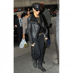 Rihanna Classic Black Leather Jacket