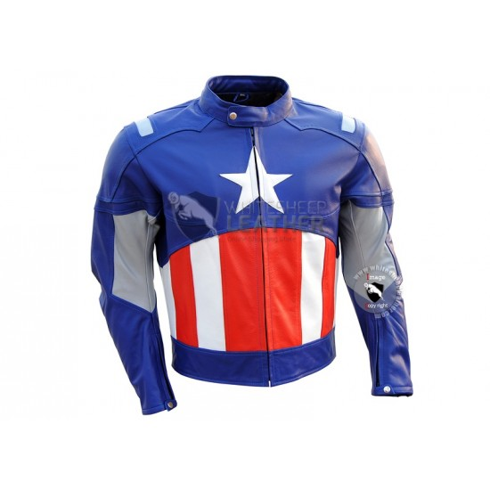 Captain America MotorCycle Leather jacket