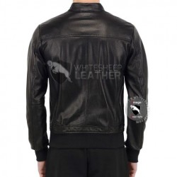 Mens Perforated Bombor Leather Jacket (Free Shipping)