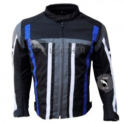 Textile Motorbike Men Black With Blue Strip cordura Jackets