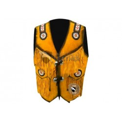 Yellow Western Cowboy Fashion Leather Vest Jacket (Free Shipping)