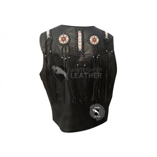 Black Western Cowboy Fashion Biker Leather Vest Jacket ( Free Shipping )