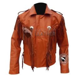 Brown Western Cowboy Fashion Leather Jacket ( Free Shipping)