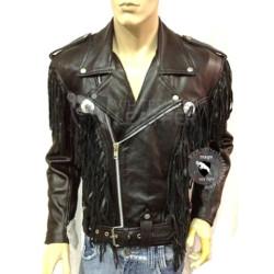 Black Western Style Motorcycle Safety Leather Jacket ( Free shipping)