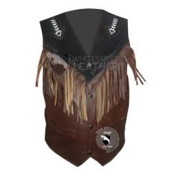 Mens Bread Fringe Western Leather vest Jacket ( Free Shipping )