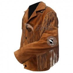 Mens Designer Classic Western Leather Jacket (Free Shipping)