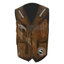 Mens Stylish Western Style Leather vest Jacket (Free Shipping)
