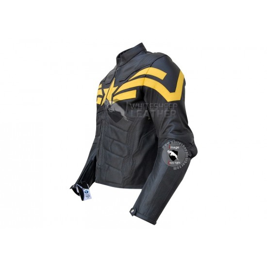 Captain America Yellow Black Leather Jacket