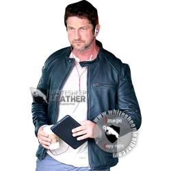 Gerard Butler Black Leather Biker Jacket
