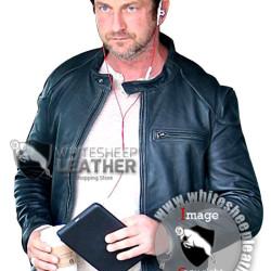 Gerard Butler Black Leather Biker Jacket