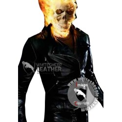 Ghost Rider Spiked Black Leather Motorcycle Jacket