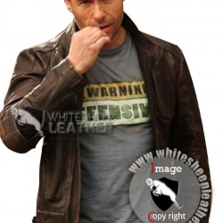 Guy Pearce Snow Lockout Distressed Brown Leather Jacket (Free shipping )