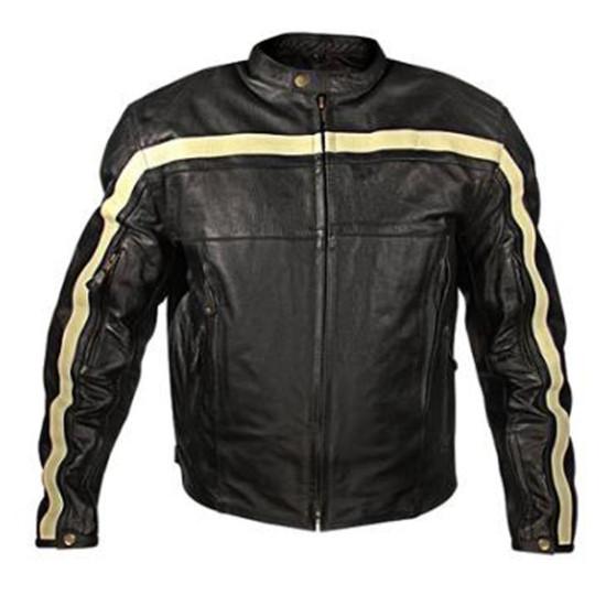 Men Black Stripes Motorbike Leather Jackets