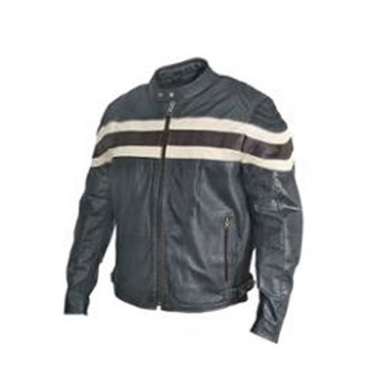 Men Classical Stripe Motorbike Leather Jackets