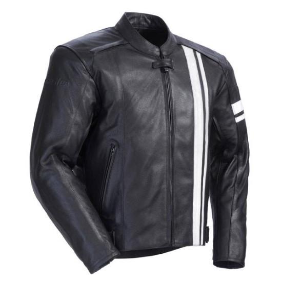 Men Black & White Stripe Motorbike Leather Jacket