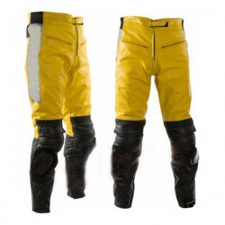 Yelow & Black Motobike Leather Trouser