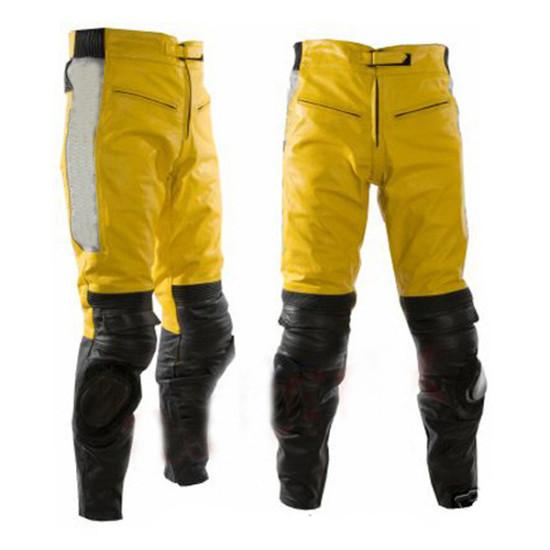 Yelow & Black Motobike Leather Trouser