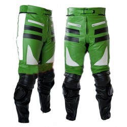 Designer Green & Black Motorbike Leather Trousers