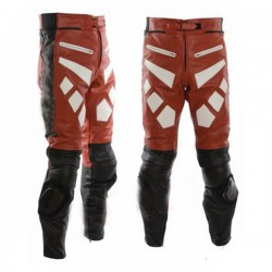 Designer Red And Black Motorbike Leather Trousers
