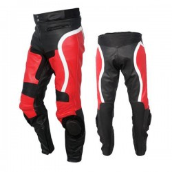 Casual Red & Black Motorbike Leather Trousers