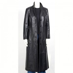 Designer Women Black Long Leather Coat