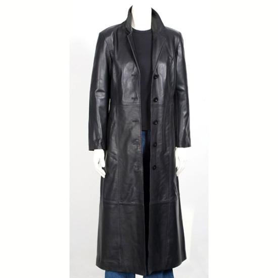 Designer Women Black Long Leather Coat