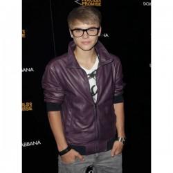 Justin Bieber biker Style Purple Leather Jacket
