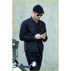 Brad Pitt Casual Black Leather Jacket