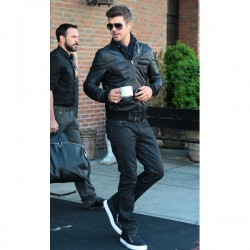 Robin Thicke Black Bomber Leather Jacket