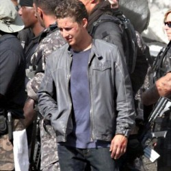 Shia Labeouf Flap Pocket Grey Leather Jacket