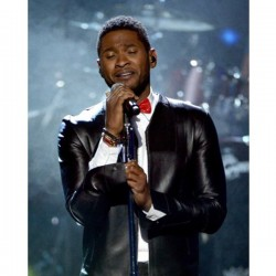 Usher Collar Less Rock Hall Leather Jacket