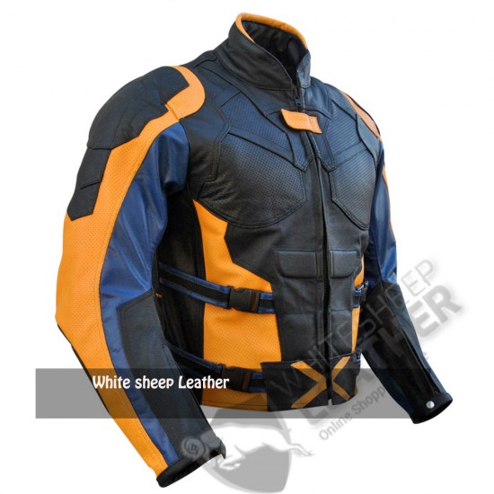 X-Men Orange & Black Motorcycle Leather Jacket