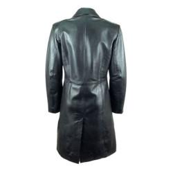 Women Black Long Leather Coat