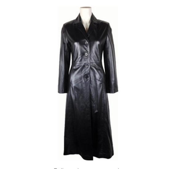 Women Black Full Lenght Leather Coat