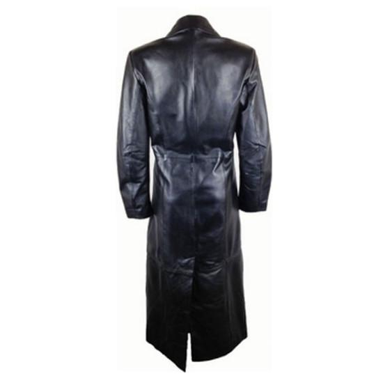 Designer Women Four Front Button Leather Coat