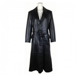Trendy Ladies Long Black Leather Coat