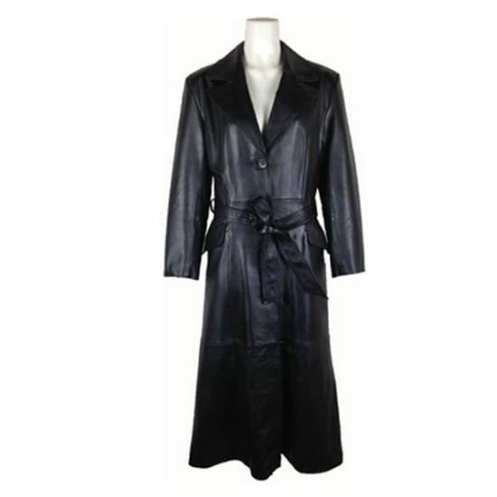 Trendy Ladies Long Black Leather Coat