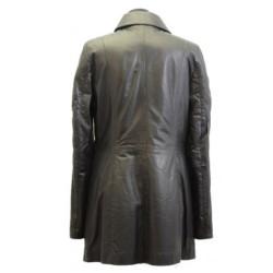 Designer Ladies Knee Lenght Black Leather Coat