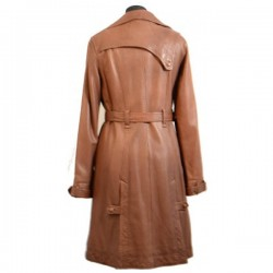 Women Brown 4 Button Front Style Leather Coat