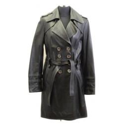 Women Black Double Breast Leather Coat