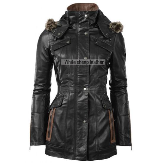 Women Four Flap Front Pockets Leather Coat