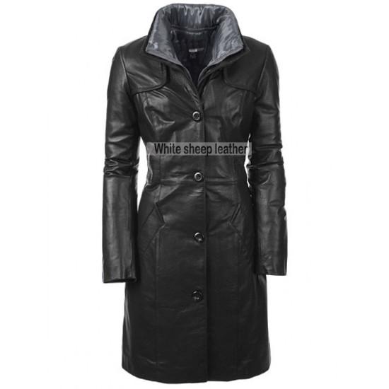 Women Black Front Button Closure Leather Coat