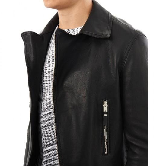 Men's Casual Black Biker Leather Jacket