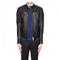 Men Slim fit Real Black Leather Jacket