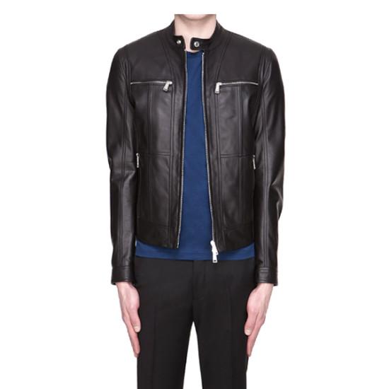 Men Slim fit Real Black Leather Jacket